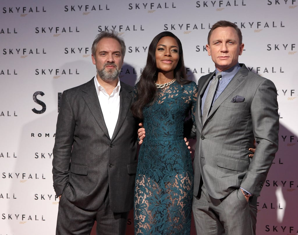 Daniel Craig and Naomie Harris posed with director Sam Mendes at the premiere in Rome.
