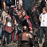 Chris Hemsworth filmed an action scene for Thor: The Dark World in England.