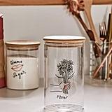 Large Wooden Lid Glass Storage Jar