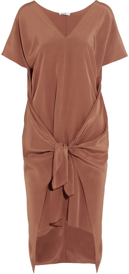 Issa Lizzie Tie-Front Silk-Satin Dress ($505)