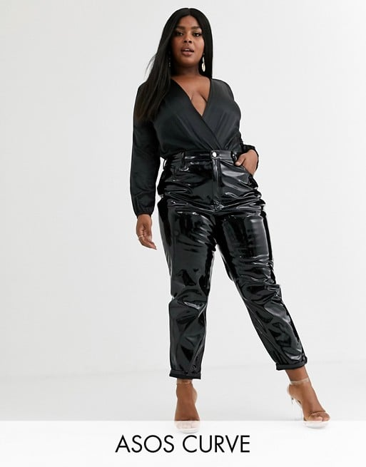 ASOS Design Curve Farleigh High Waist Slim Mom Jeans in Black Vinyl
