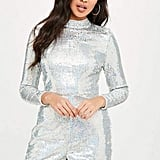 Missguided Silver Sequin Long Sleeved Romper