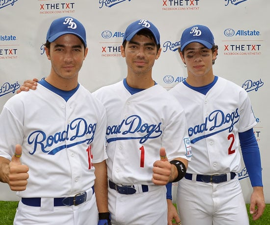 Slide Picture of the Jonas Brothers in Baseball Uniforms