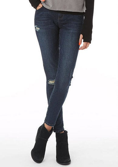 These Delia's Liv Tool dark destructed HW jegging ($47) come perfectly distressed with an ankle crop that shows off your footwear.