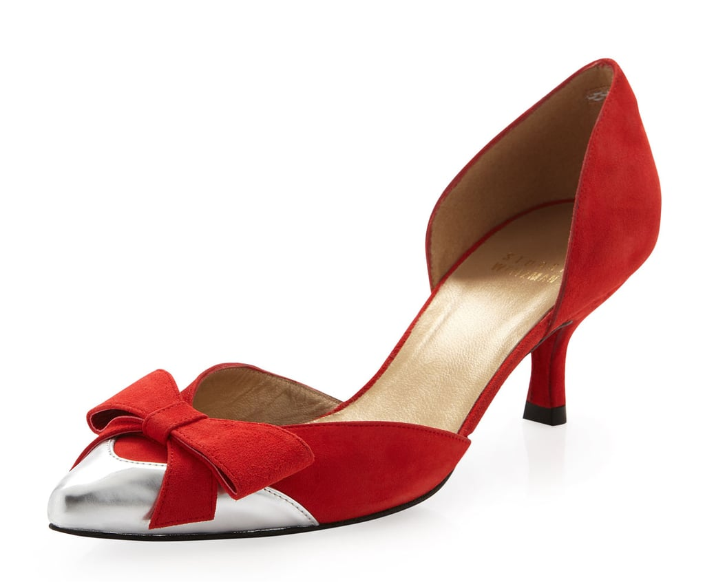 Stuart Weitzman red suede bow kitten heels ($256, originally $320)