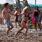 Julianne led Rock of Ages costar Diego Boneta by the hand during a May 2011 shoot in Hollywood, FL.