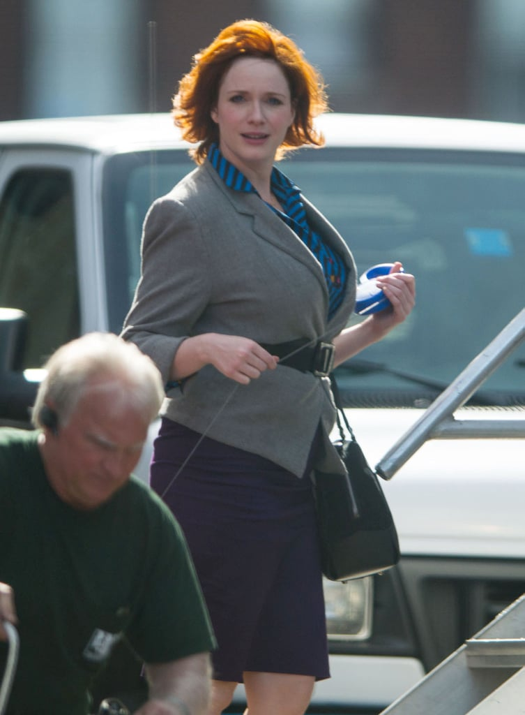 Christina Hendricks pranced around on the set of How to Catch a Monster in Detroit on Tuesday.