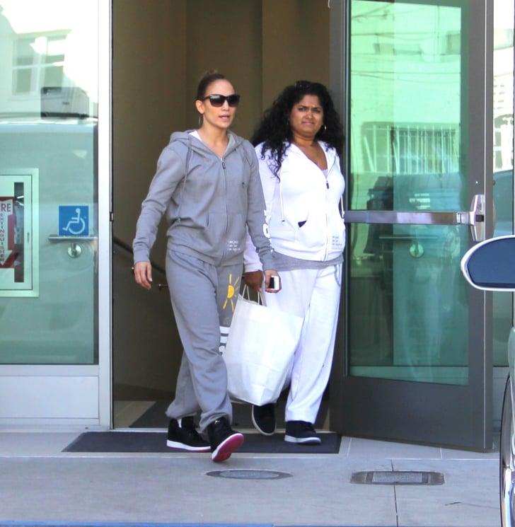Jennifer Lopez wore sweats to shop at Valentino.