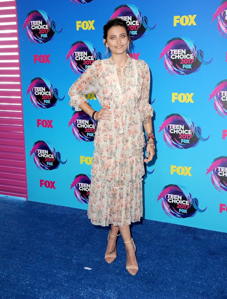321d225777 Paris Jackson opted for an ankle-length floral dress by Zimmermann,  Elisabetta Franchi heels, and Borgioni earrings.