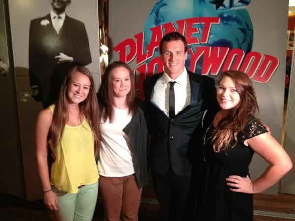 Ryan Lochte posed with three fans who were invited to his belated birthday party celebration in London. Source: Twitter user eswright
