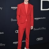 Timothée's monochromatic Louis Vuitton suit at a Beautiful Boy screening left fans seeing red in the best way possible.