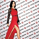"Leigh Lezark hit the ""red carpet"" in a floor-length red and black gown in the Kate Young For Target campaign."