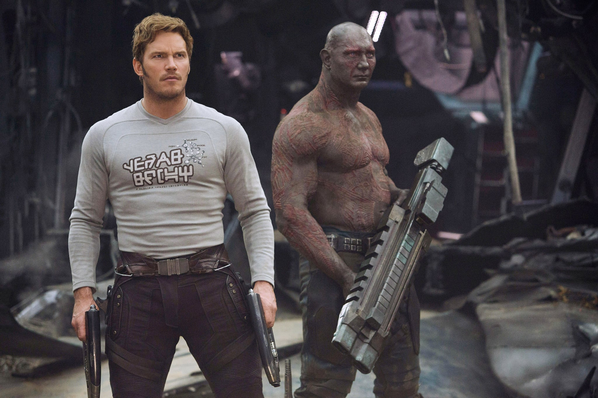 GUARDIANS OF THE GALAXY VOL. 2, l-r: Chris Pratt, Dave Bautista, 2017. ph: Chuck Zlotnick/Walt Disney Studios Motion Pictures/courtesy Everett Collection