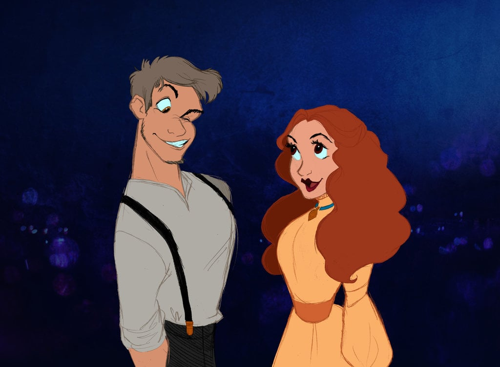 Lady and the Tramp Humanized  Disney Characters as Humans in Art