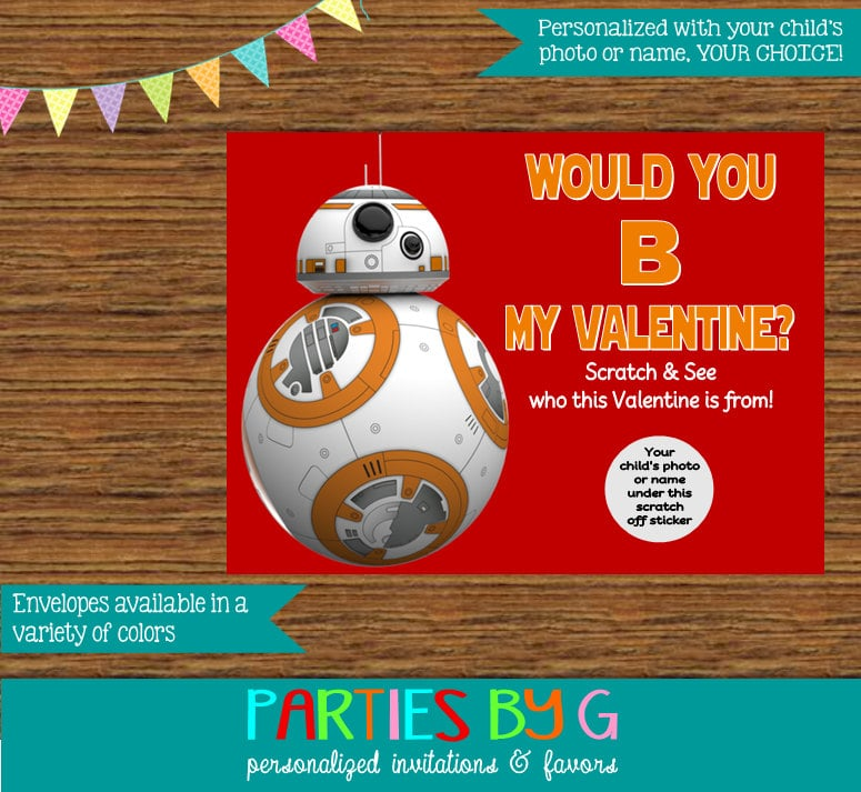 star wars bb 8 valentine s day scratch off cards star wars kids