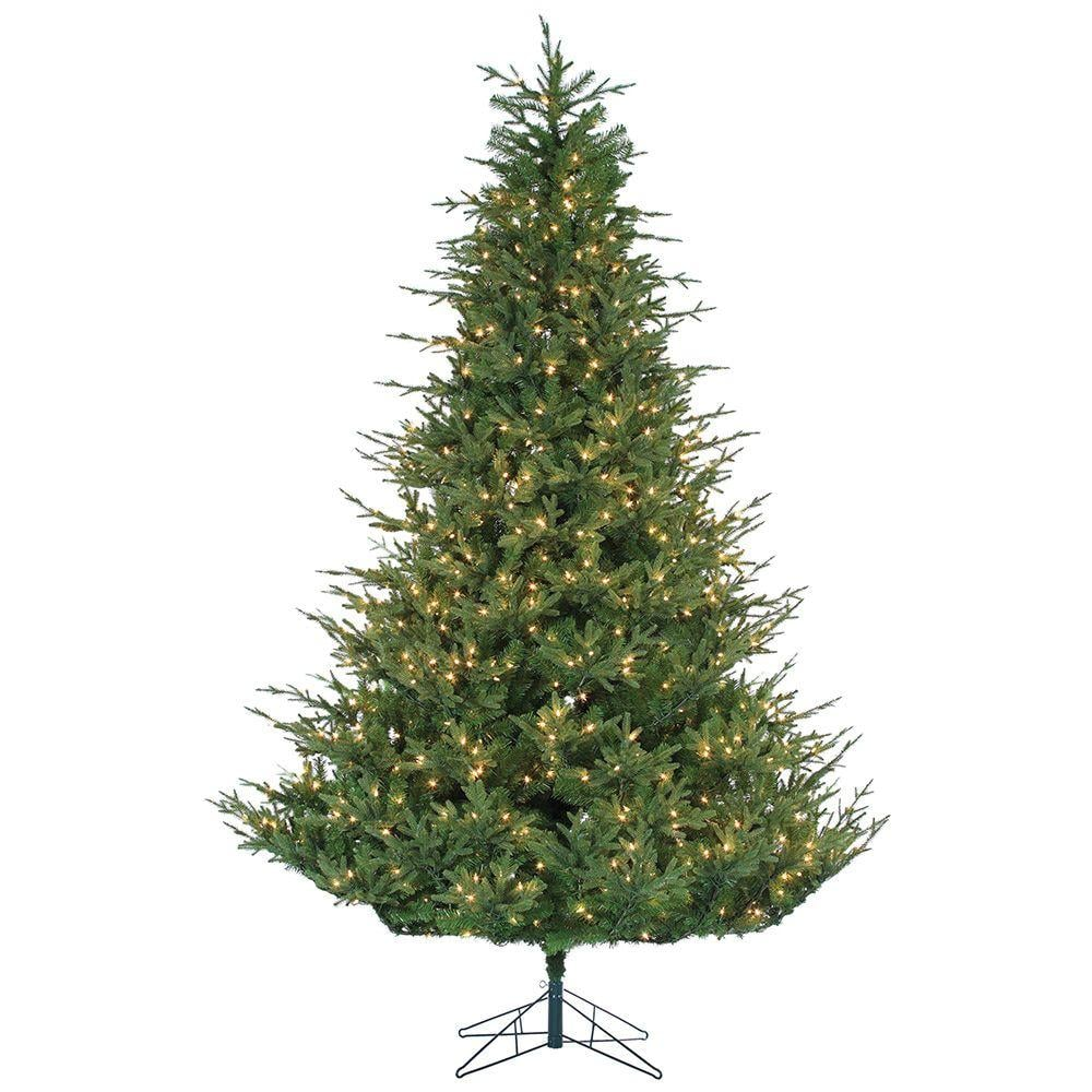 sterling 9 ft pre lit natural cut upswept chesterfield spruce home depot christmas trees. Black Bedroom Furniture Sets. Home Design Ideas