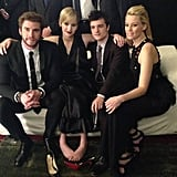Jennifer Lawrence shared a photo of herself with her Catching Fire costars Liam Hemsworth, Josh Hutcherson, and Elizabeth Banks at the film's premiere in Paris. Source: Facebook user Jennifer Lawrence