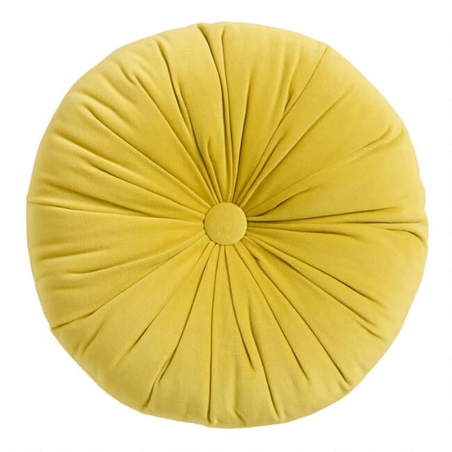 Round Chartreuse Green Velvet Throw Pillow