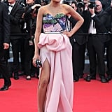 Freida Pinto wore a Michael Angel gown to the 2012 Cannes premiere of Moonrise Kingdom.