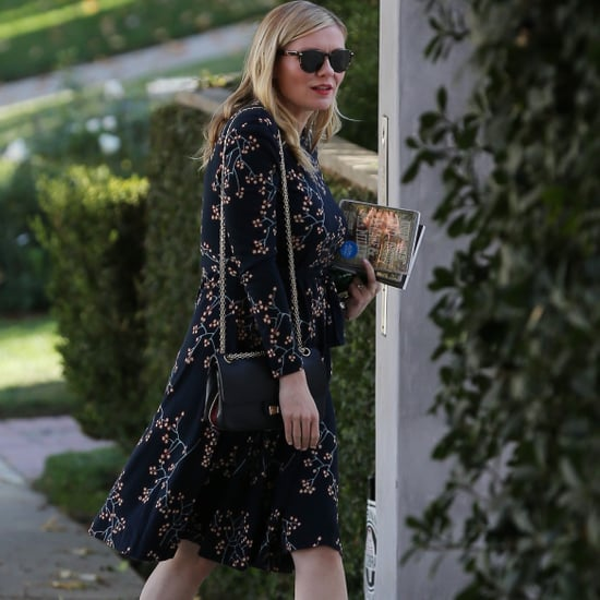 Kirsten Dunst Pregnant Wearing Floral Dress and Gucci Shoes