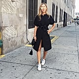 A Black Wrap Dress and White Sneakers