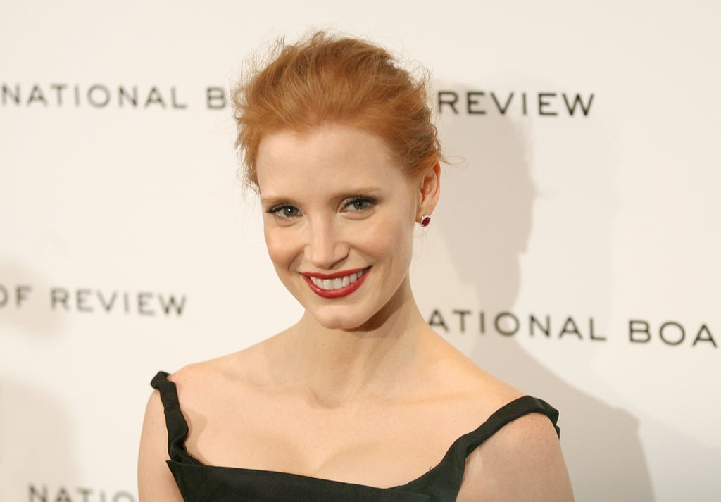 Jessica Chastain smiled on the black carpet at the 2011 National Board of Review Awards gala.
