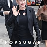 Patricia Arquette waved in NYC on Tuesday.