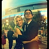 Elizabeth Banks hung out with Zach Braff at the DNC. Source: Twitter user ElizabethBanks