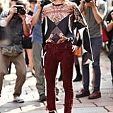 This pretty paisley top offset a pair of edgier lace-up suede pants. Source: Greg Kessler