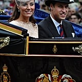 Kate and Wills wore traditional headgear for their carriage ride to the Palace.