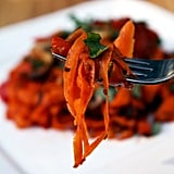 Carrot Fettuccine With Mushrooms and Red Pepper
