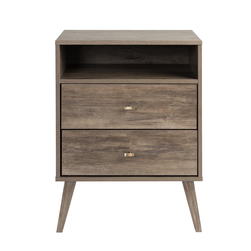 Prepac Milo Mid-Century Modern 2-Drawer Drifted Gray Tall Nightstand