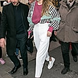 Gigi rocked an '80s-inspired outfit while in Paris.