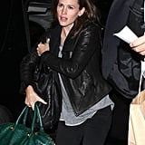 Jennifer Garner wore a leather jacket to travel out of LAX.
