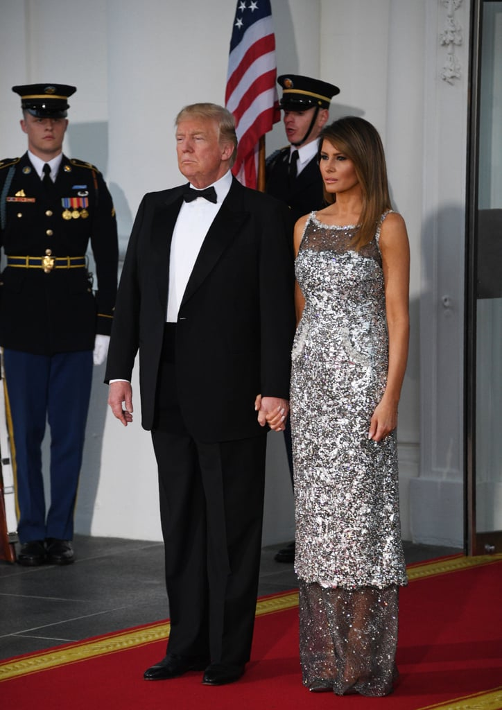 On April 24, for a State Dinner to welcome the president of France, Melania sparkled and shined in a Chanel dress. A pair of Christian Louboutin heels peeked out from underneath the sheer hem.