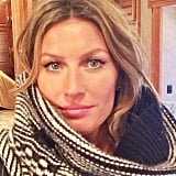 Gisele Bündchen was bundled up while working in snowy Boston. Source: Instagram user giseleofficial