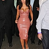 Kim Kardashian Wearing Her Famous Latex Dress at Her Fragrance Launch in Australia in 2014