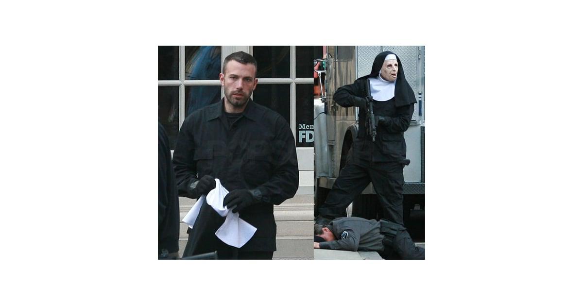 Photos Of Ben Affleck Shooting A Robbery Scene In A Nun's