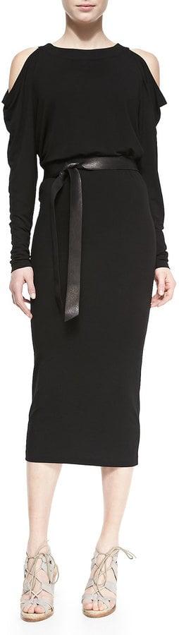 Donna Karan Long-Sleeve Cold-Shoulder Dress