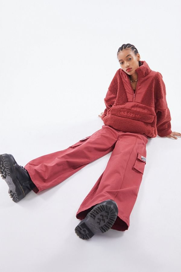 Adidas UO Exclusive Sherpa Half-Zip Jacket and Twill Wide Leg Pant