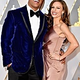 Dwayne Johnson and Lauren Hashian at the 2017 Oscars