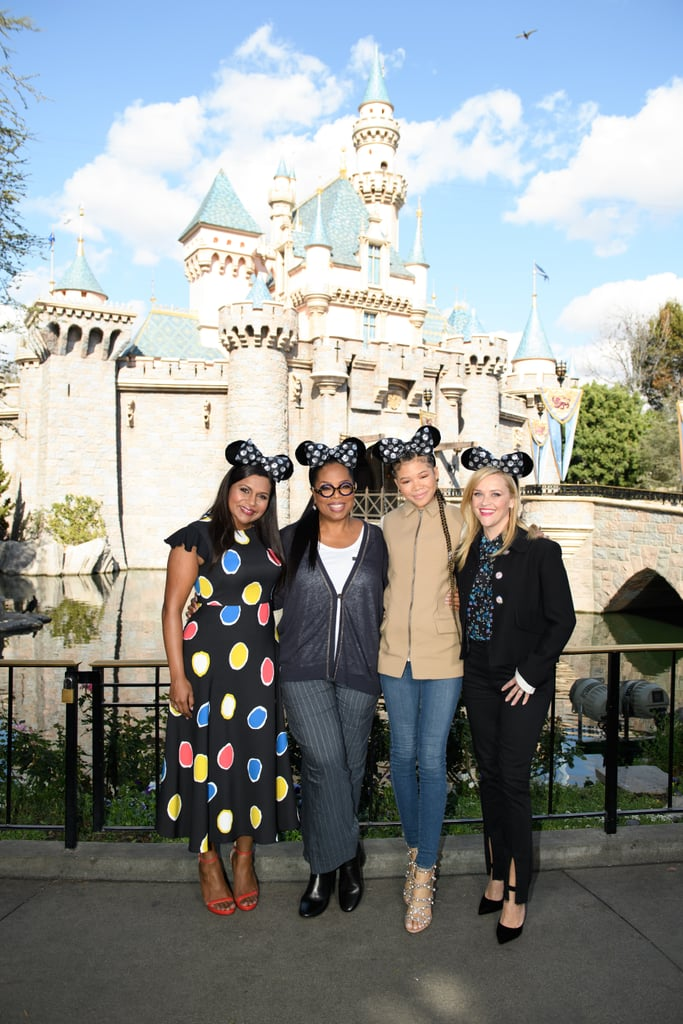 After giving birth to a baby girl in December, Mindy Kaling is slowly stepping back into the spotlight. On Thursday, the actress made her first public appearance since becoming a mom as she reunited with her A Wrinkle in Time costars, Reese Witherspoon, Oprah Winfrey, and Storm Reid, at the Happiest Place on Earth. The women spread a little Disney magic as they surprised guests at the Sunset Showcase Theater in Disney California Adventure Park. Aside from giving fans a sneak peek of their upcoming movie, they put on their best Mickey Mouse ears as they posed in front of the Sleeping Beauty Castle in Disneyland Park. Read on for more pictures from their sweet outing ahead.       Related:                                                                                                           The Ladies of A Wrinkle in Time Are Just as Dazzling as Their Onscreen Counterparts