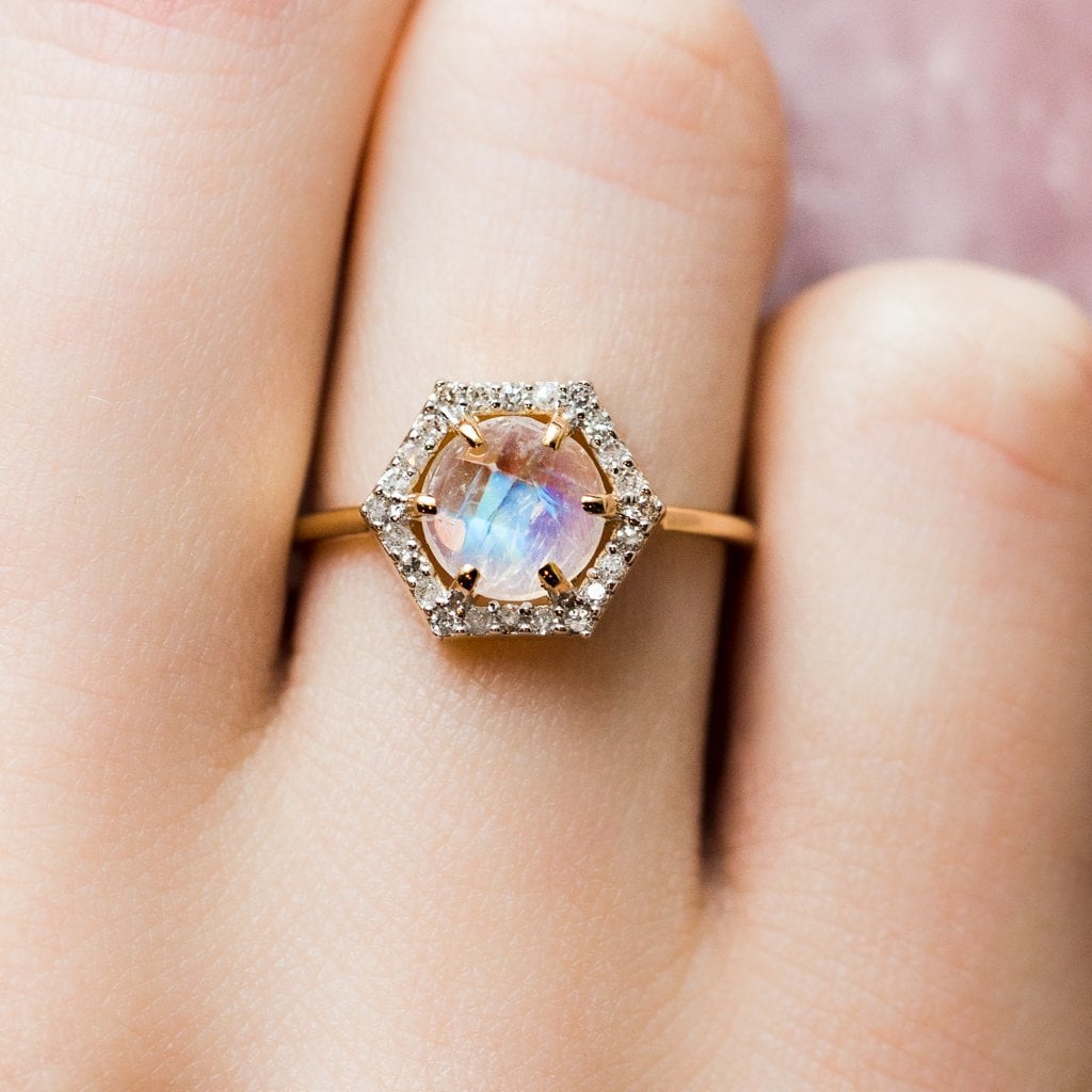 Solid Gold Moonstone and Diamond Hexagon Ring