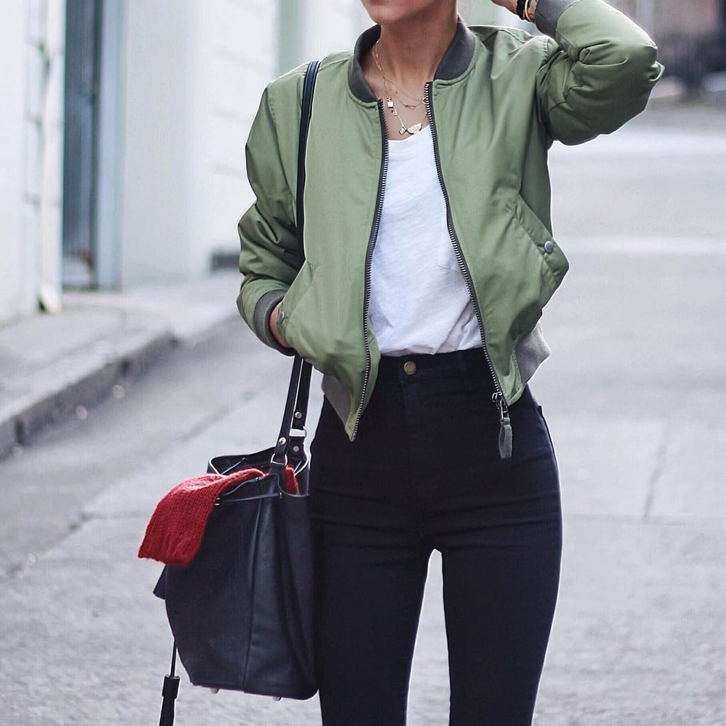 A Bomber Jacket, a White T-Shirt, and Black Jeans