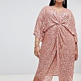 ASOS Scatter Sequin Knot Front Kimono Midi Dress