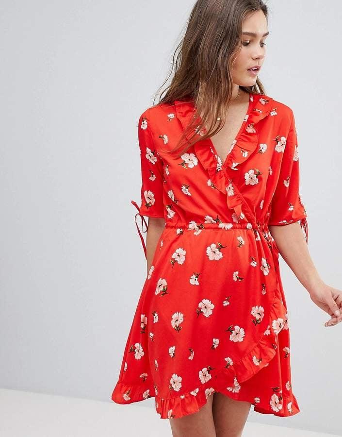 0f9f1b2613d Influence Floral Midi Wrap Dress With Ruffle t