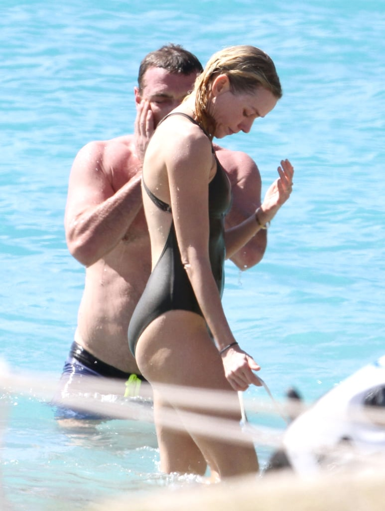Liev Schreiber went shirtless for a dip with Naomi Watts.