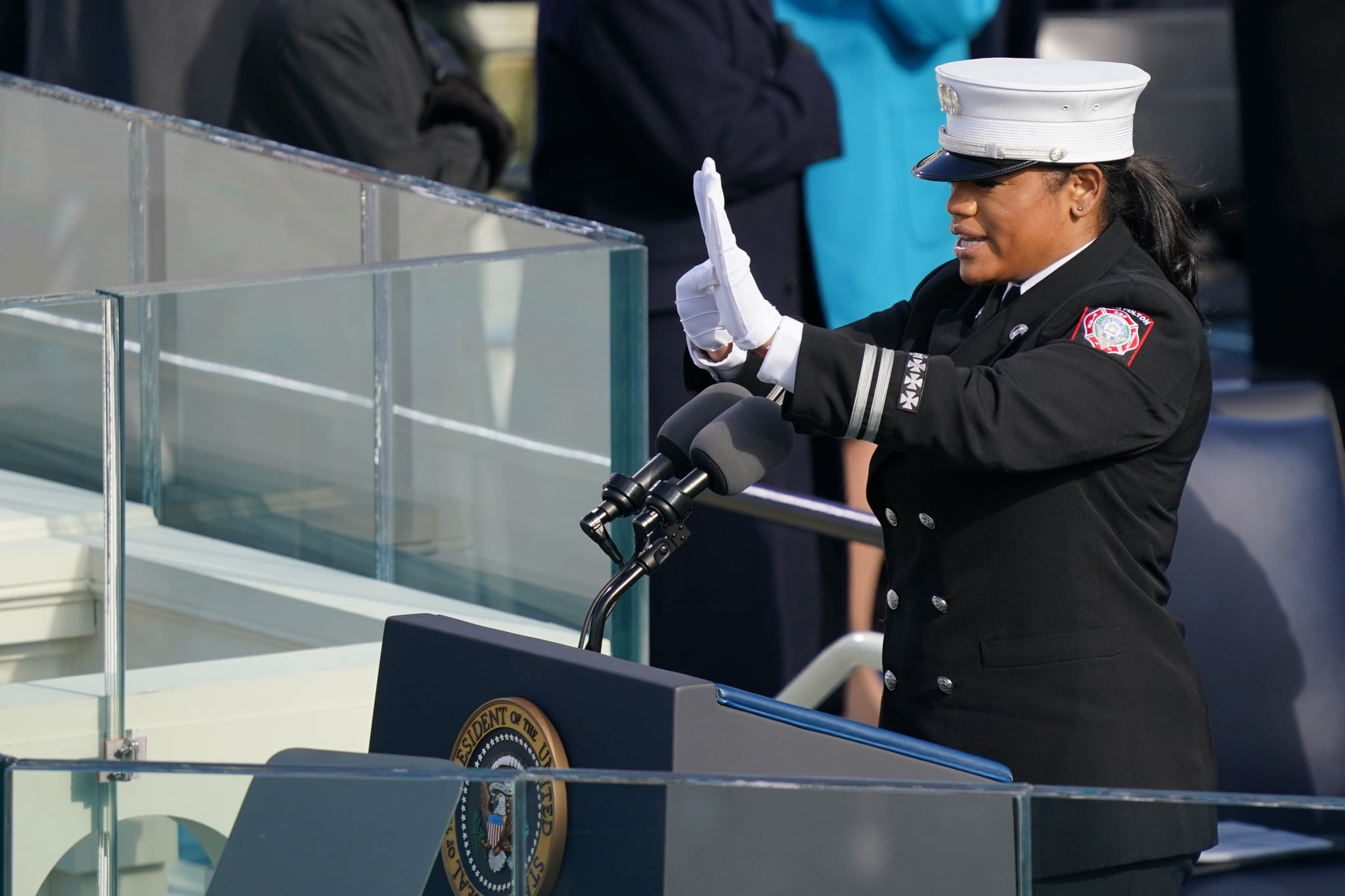 WASHINGTON, DC - JANUARY 20: Capt. Andrea Hall delivers the pledge of allegiance during the inauguration of U.S. President-elect Joe Biden on the West Front of the U.S. Capitol on January 20, 2021 in Washington, DC.  During today's inauguration ceremony Joe Biden becomes the 46th president of the United States. (Photo by Erin Schaff-Pool/Getty Images)
