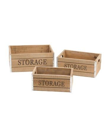 Set of 3 Wood Crate Storage Bins ($20)