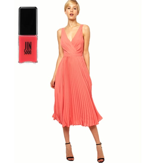 A fun, flirty dress like Mango Pleat and Wrap Midi Dress ($154) needs an equally vibrant shade. Try Jin Soon Coral Peony ($18).